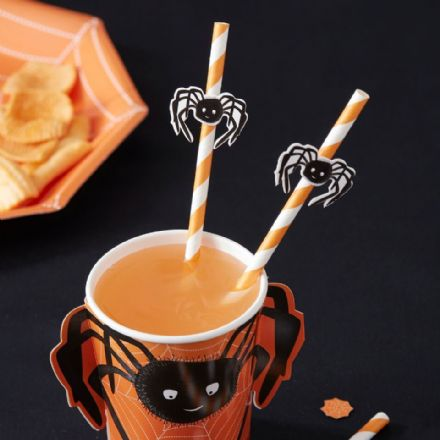 Halloween Spooky Spider Party Straws - pack of 16
